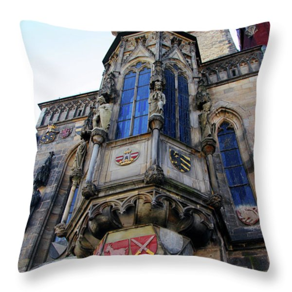 Old Town City Hall Throw Pillow by Mariola Bitner