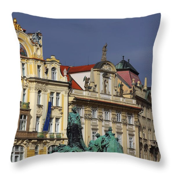 Old Town Square In Prague Throw Pillow by Christine Till