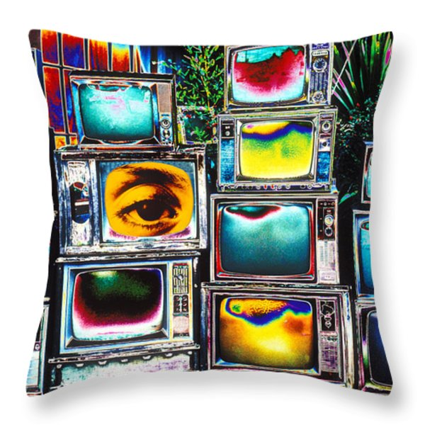 Old TV's Abstract Throw Pillow by Garry Gay