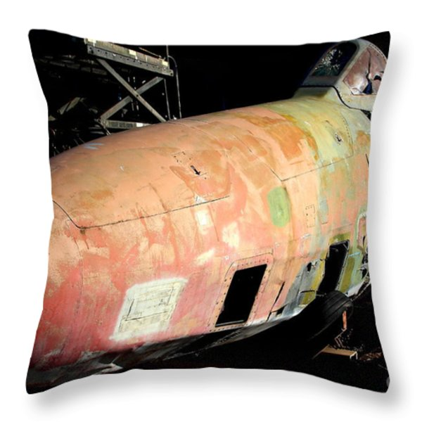Old Us Fighter Jet Fuselage . 7d11252 Throw Pillow by Wingsdomain Art and Photography