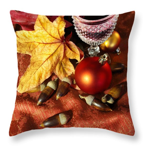 Old Wine Glass Throw Pillow by Carlos Caetano