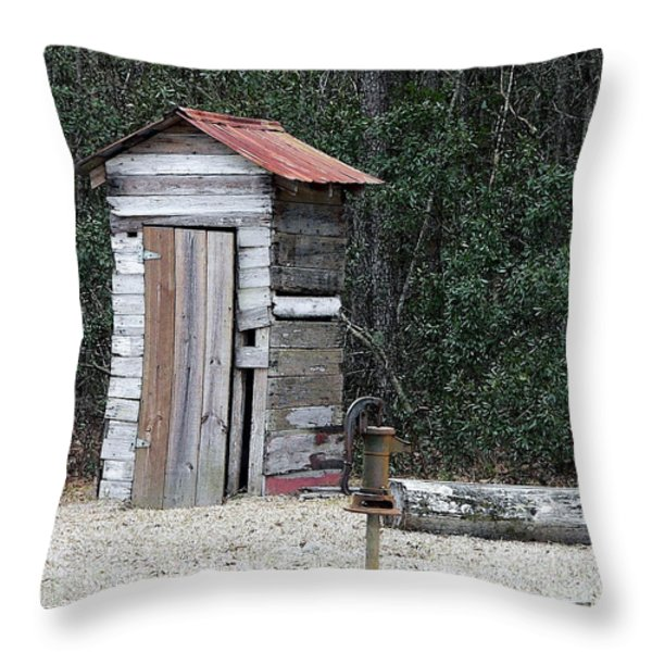 Oldtime Outhouse - Digital Art Throw Pillow by Al Powell Photography USA
