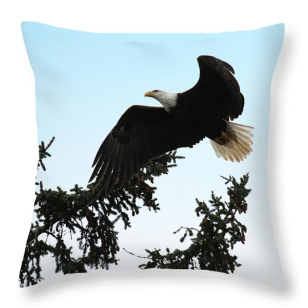 Olympic Bald Eagle Throw Pillow by David Yunker