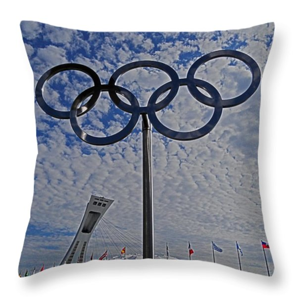 Olympic Stadium Montreal Throw Pillow by Juergen Weiss