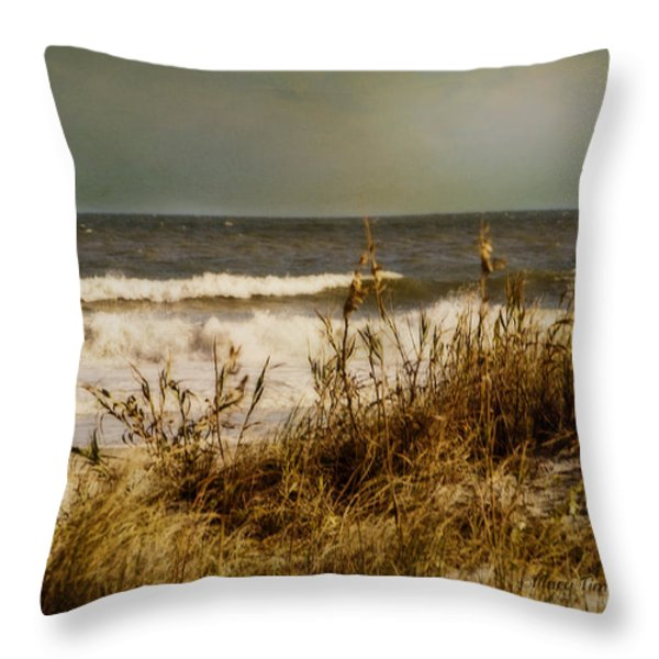 On The Beach Throw Pillow by Mary Timman