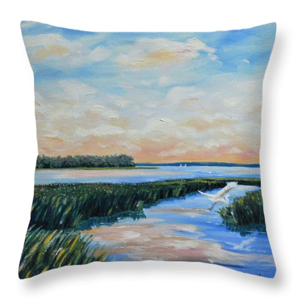 On The May River Throw Pillow by Stanton Allaben