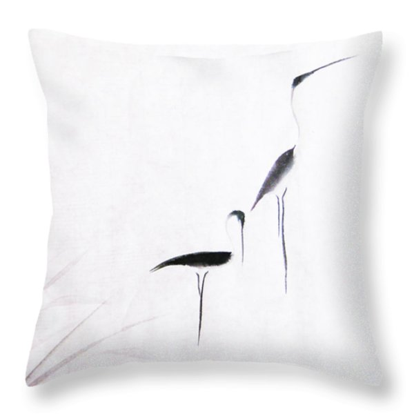 On Typha Pond Throw Pillow by Oiyee  At Oystudio
