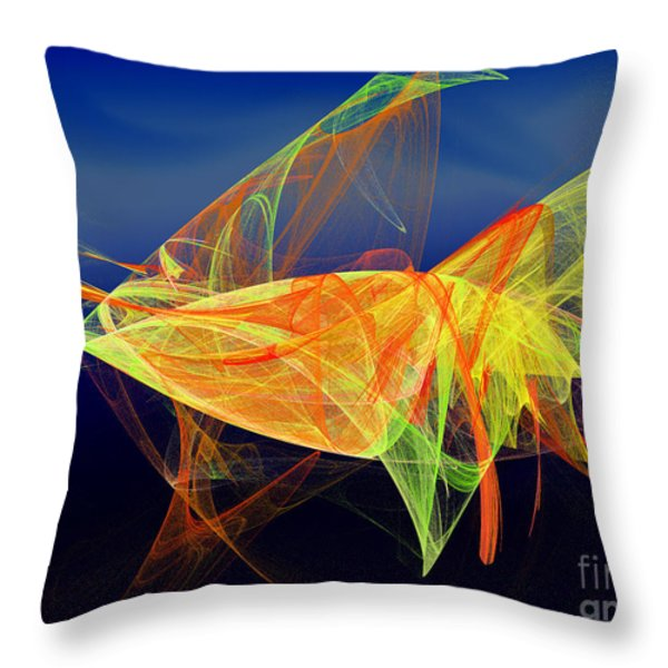 One Fish Rainbow Fish Throw Pillow by Andee Design