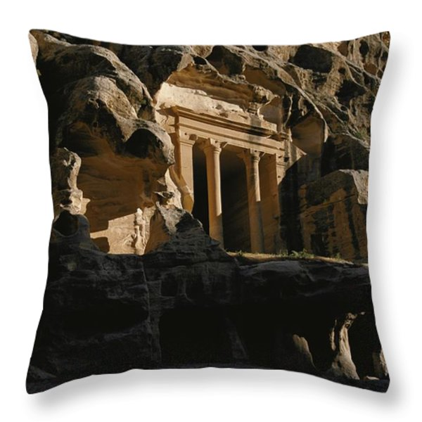 One Of The Many Tombs Carved Throw Pillow by Annie Griffiths