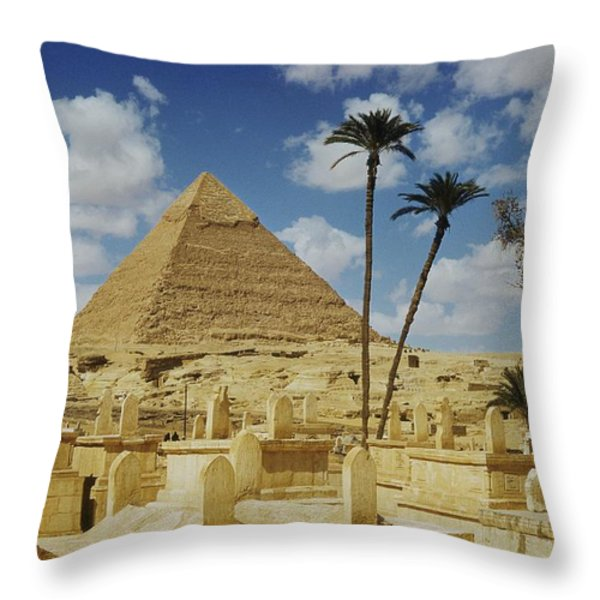 One Of The Pyramids Seen Behind An Arab Throw Pillow by Maynard Owen Williams