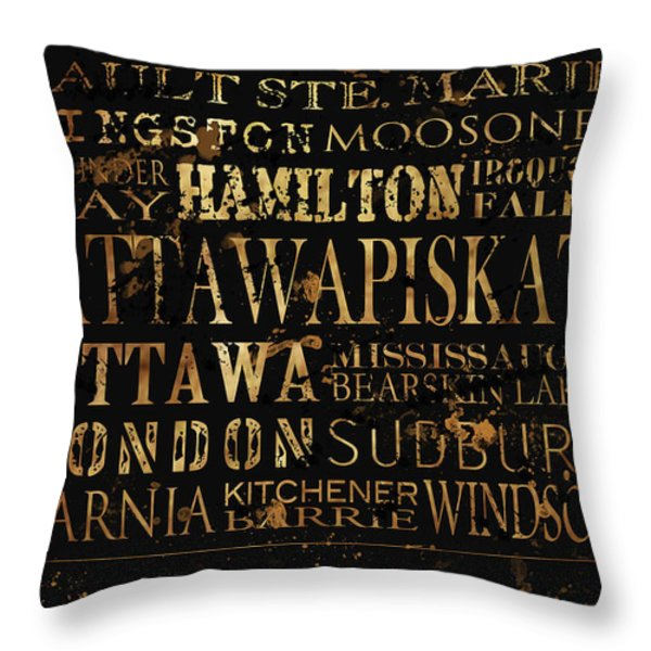 Ontario Typography Throw Pillow by Tanya Harrison