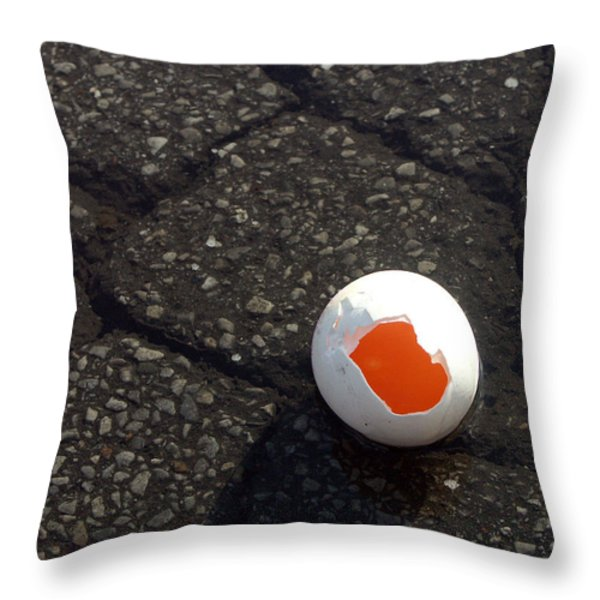 Open Broken Egg - View From Above Throw Pillow by Matthias Hauser