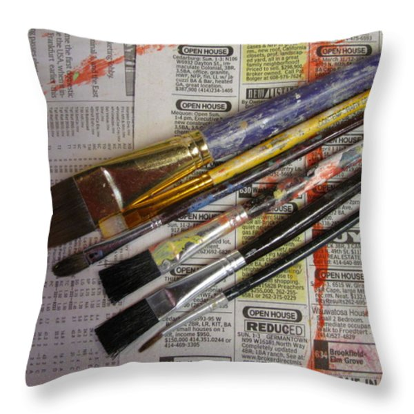 Open House Reduced Throw Pillow by Anita Burgermeister
