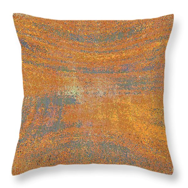 Orange And Gray Abstract Throw Pillow by Carol Groenen