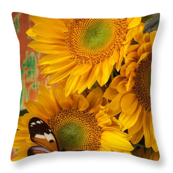 Orange Black Butterfly And Sunflowers Throw Pillow by Garry Gay