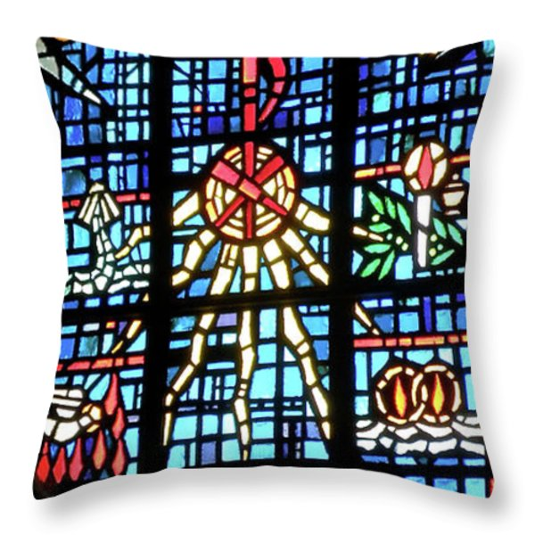 Orange Blue Stained Glass Window Throw Pillow by Thomas Woolworth