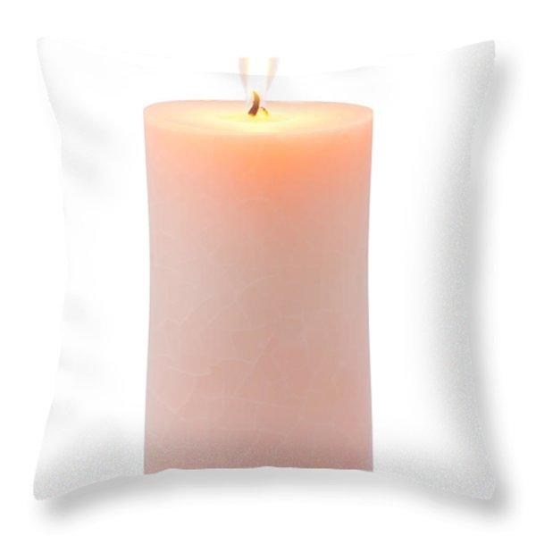 Orange Candle Throw Pillow by Atiketta Sangasaeng