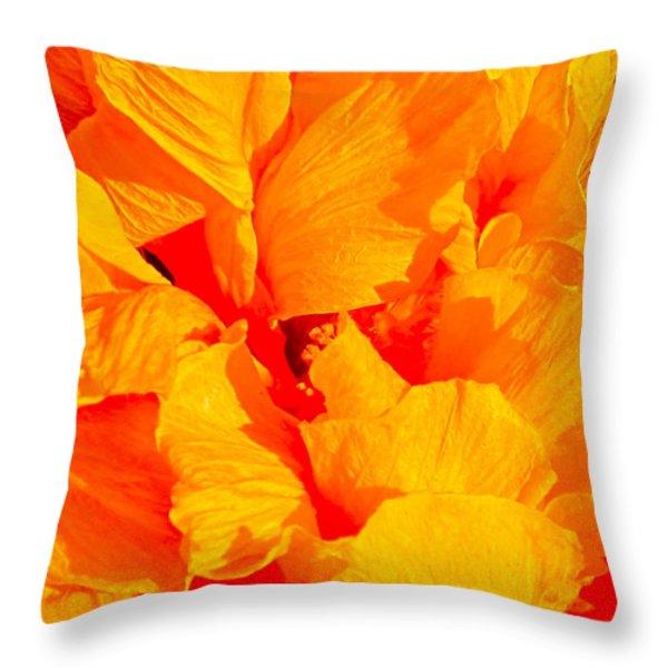 Orange Frills Throw Pillow by Gwyn Newcombe