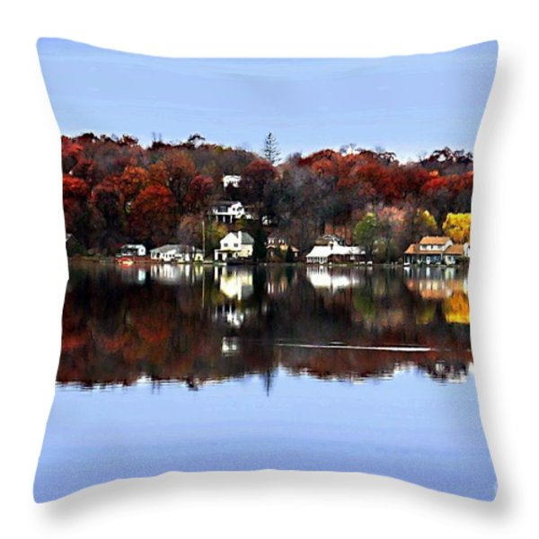 Orange Lake Throw Pillow by Dale   Ford