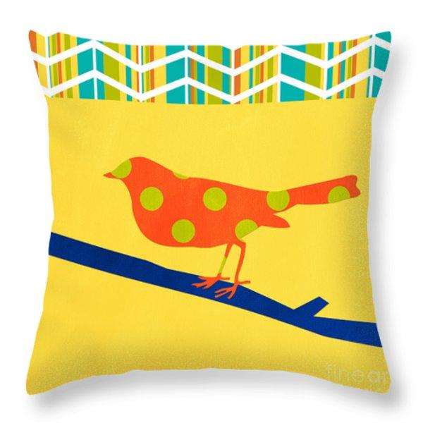 Orange Polka Dot Bird Throw Pillow by Linda Woods