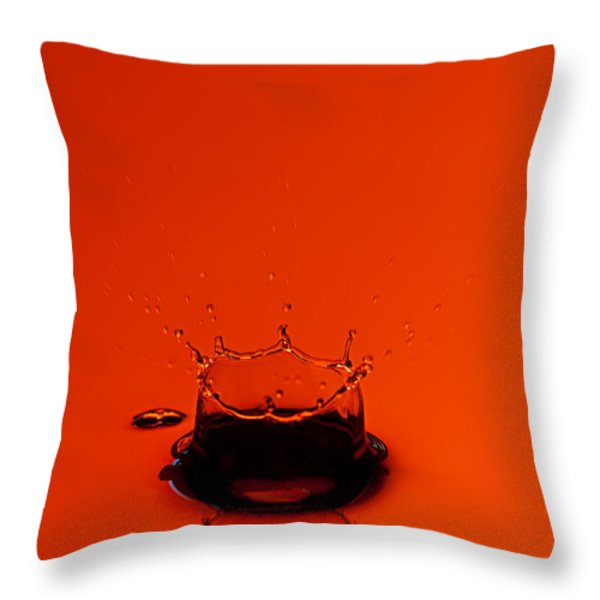Orange Splash Throw Pillow by Steve Gadomski