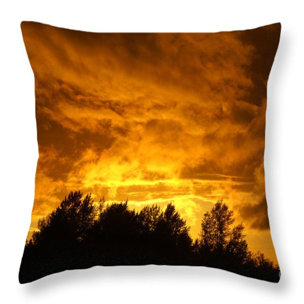 Orange Stormy Skies Throw Pillow by Randy Harris