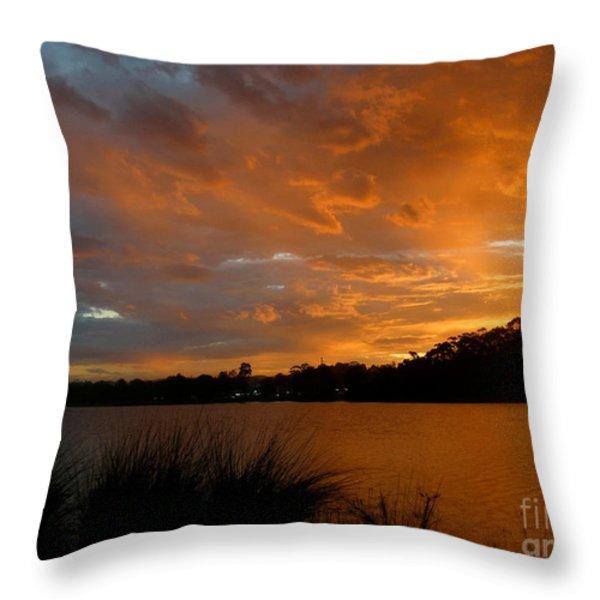 Orange Sunset Glow Throw Pillow by Kaye Menner