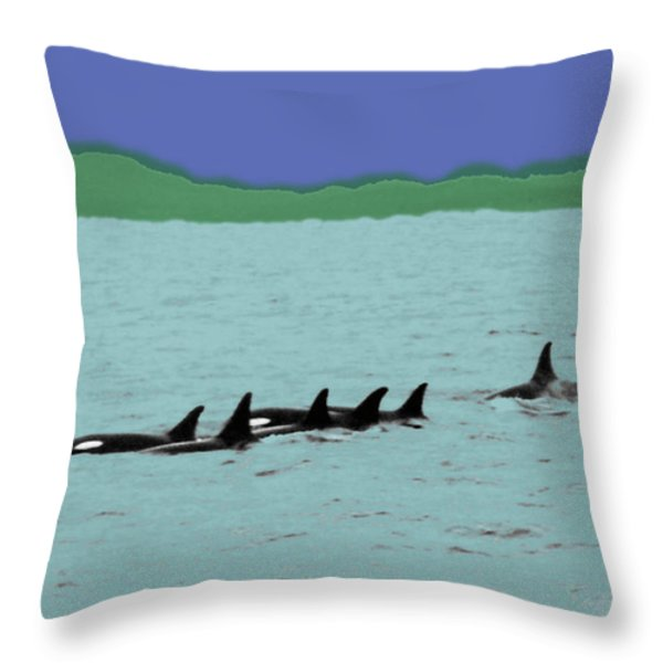Orca Pod Throw Pillow by Al Bourassa