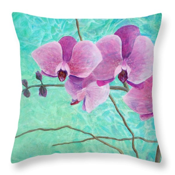 Orchids In Pink Throw Pillow by Arlissa Vaughn