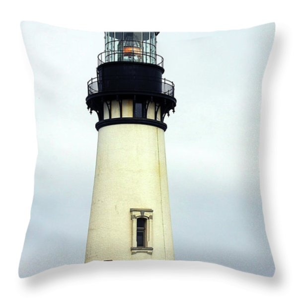 Oregon Coast Lighthouses - Yaquina Head Lighthouse Throw Pillow by Christine Till