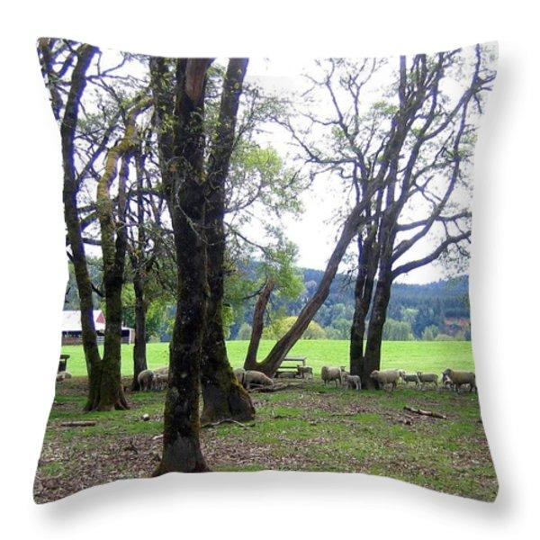 Oregon Sheep Farm Throw Pillow by Will Borden