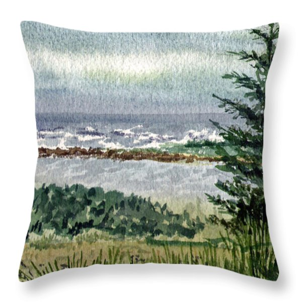 Oregon Shore Throw Pillow by Irina Sztukowski