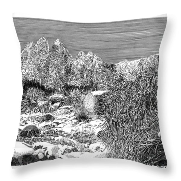 Organ Mountain Wintertime Throw Pillow by Jack Pumphrey
