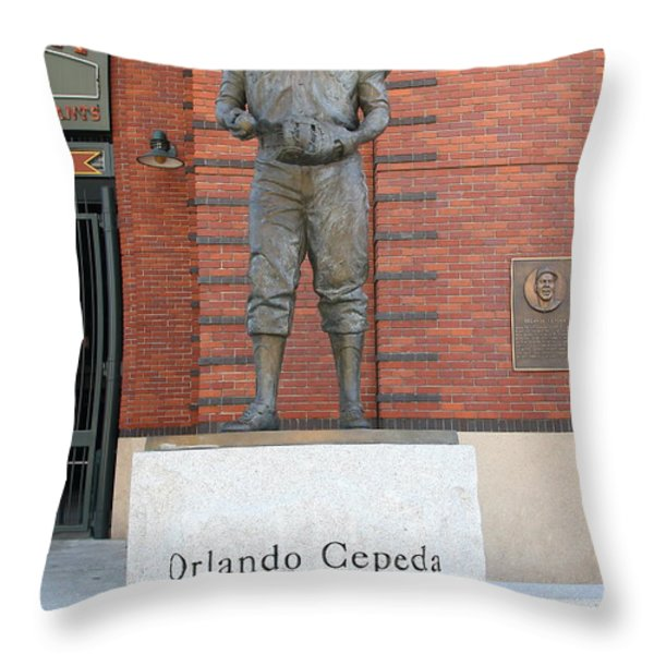 Orlando Cepeda At San Francisco Giants Att Park .7d7631 Throw Pillow by Wingsdomain Art and Photography
