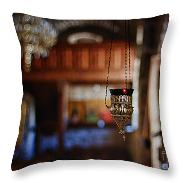 orthodox church oil candle Throw Pillow by Stylianos Kleanthous