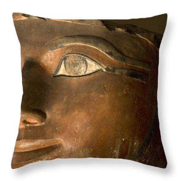 Osiris Statue Face Of Hatshepsut Throw Pillow by Kenneth Garrett