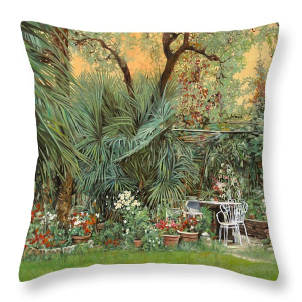 our little garden Throw Pillow by Guido Borelli