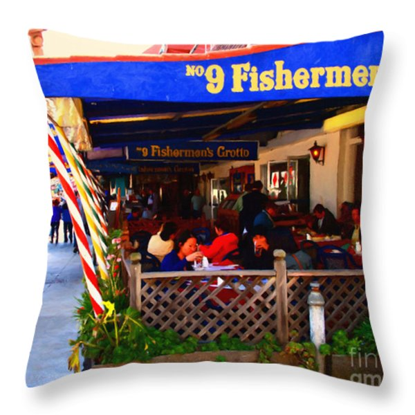 Outdoor Dining At The Fishermens Grotto Restaurant . Fisherman.s Wharf . San Francisco California Throw Pillow by Wingsdomain Art and Photography