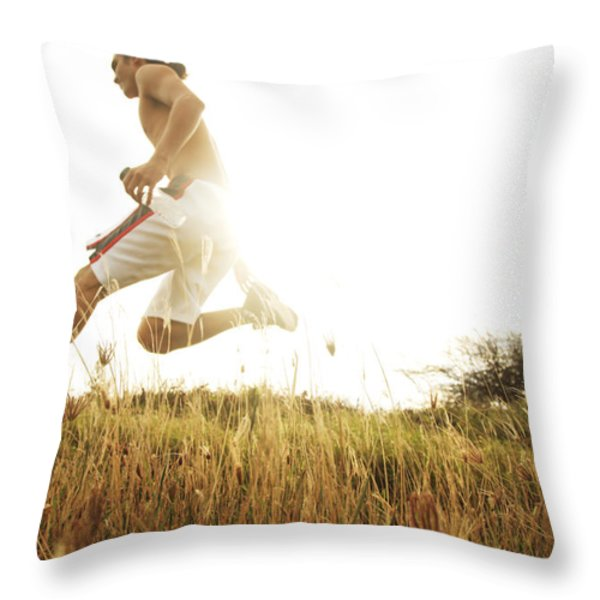 Outdoor Jogging II Throw Pillow by Brandon Tabiolo - Printscapes