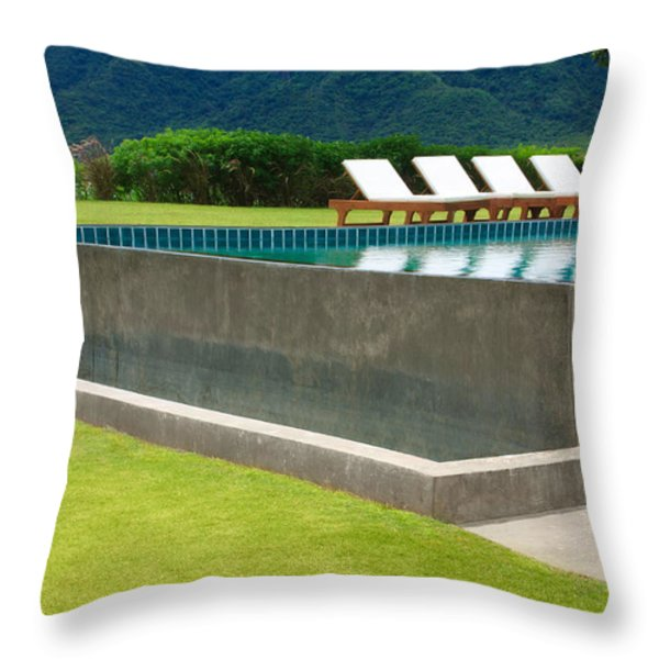 Outdoor Swimming Pool Throw Pillow by Atiketta Sangasaeng