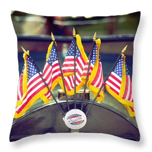 Overland Vintage Car With Flags Throw Pillow by Floyd Menezes