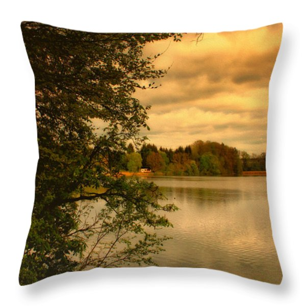 Overlooking The Lake Throw Pillow by Jutta Maria Pusl