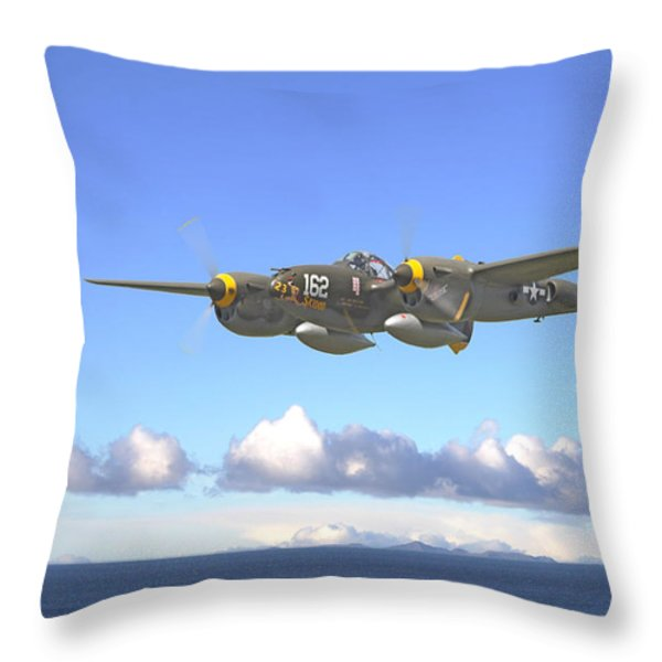 P38 - Long Way Home Throw Pillow by Pat Speirs
