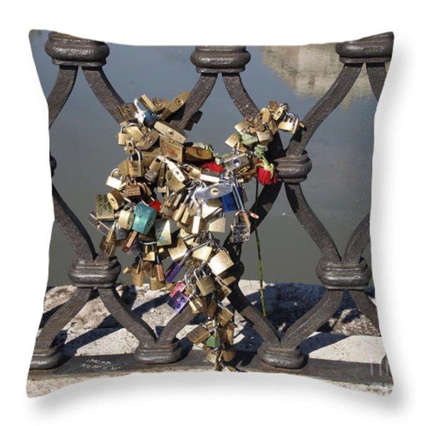 Padlocks On Bridge. Rome Throw Pillow by Bernard Jaubert