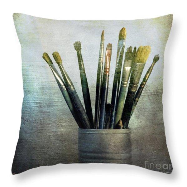 Paintbrushs Throw Pillow by Bernard Jaubert