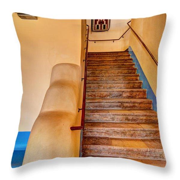 Painted Desert Inn Stairway Throw Pillow by Bob and Nancy Kendrick