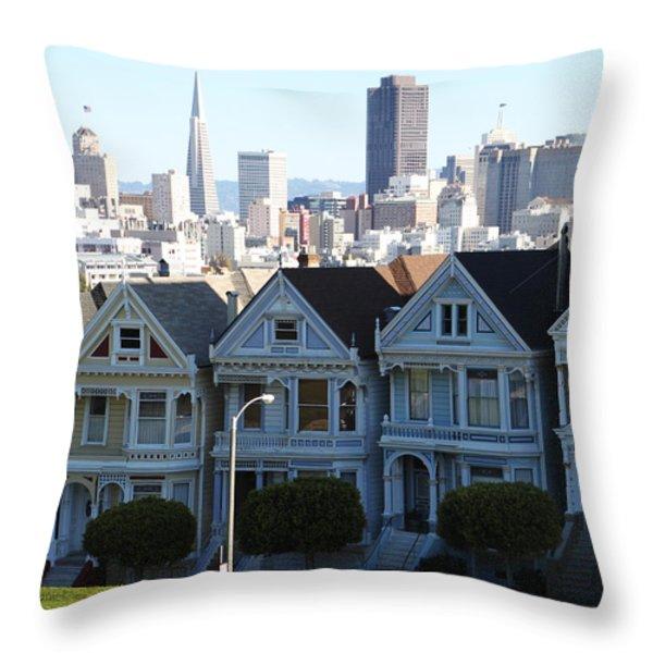 Painted Ladies Throw Pillow by Linda Woods