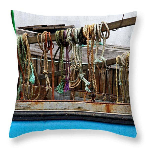 Painted Rope Coils Throw Pillow by Brenda Giasson