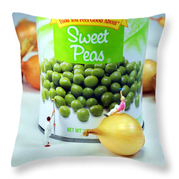 Painting Sweet Peas Poster Throw Pillow by Paul Ge