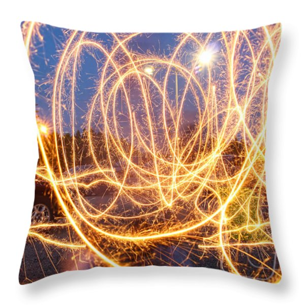 Painting With Sparklers Throw Pillow by Gordon Dean II
